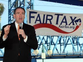 Mike Huckabee speaks at a rally for supporters of the FairTax during his run for president in 2008.