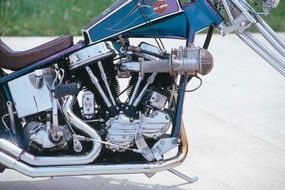 The updated engine of the FLH chopper.