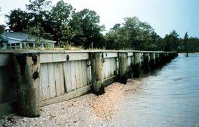 Breakwater walls in Maryland, built to slow beach erosion
