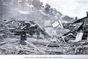 Downtown Johnstown, Pennsylvania, after the disastrous flood of 1889. In addition to destroying Johnstown, the wall of water also flooded towns farther 'downstream,' including Washington, D.C.