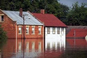 Flooded streets in St. Genevieve, Missouri. The small town was one of the many midwestern cities devastated by flooding in the summer of 1993.