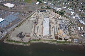 A replacement bridge for the Evergreen Point bridge is in the works. Here's an aerial view of the Washington State DOT / Kiewit General casting basin facility that's under construction in Aberdeen, Wash.