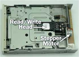Click on the picture to see a brief video of a diskette being inserted. Look for the silver, sliding door opening up and the read/write heads being lowered to the diskette surface.