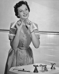 We suspect that this lady is imagining all the health and cost benefits she'll reap from flossing daily.