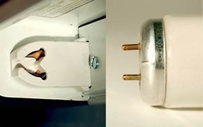Rapid start and starter switch fluorescent bulbs have two pins that slide against two contact points in an electrical circuit.