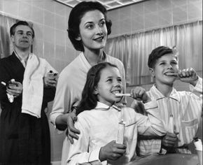 The whole family doesn't have to be there, but because of the potential for fluoride poisoning, children should be supervised while they brush their teeth.