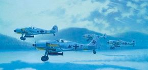 The Focke Wulf Fw 190 often performed bomber duty, as depicted here. In addition to a conventional bomb, a 190 could carry a bomb-torpedo that weighed nearly 3,100 pounds.