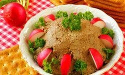 This chicken liver pâté looks deceivingly like its more popular appetizer cousin: hummus.