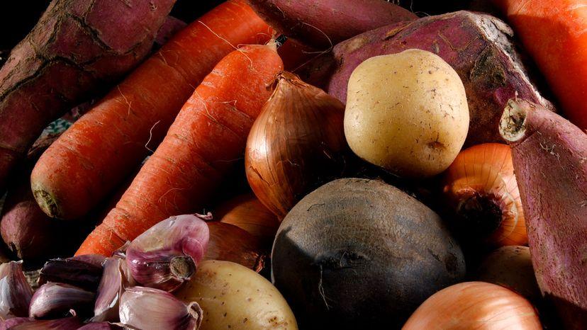 onions, carrots and potatotes