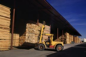 Forklifts can lift loads that are thousands of pounds, often several stories into the air, all without tipping over. See more truck pictures.
