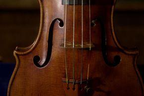A close-up look at a 300-year-old Stradivarius violin, created by king of strings Antonio Stradivari.