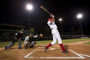 A foul-tip occurs only when the ball hits the bat and travels directly to the catcher's glove. See more sports pictures.