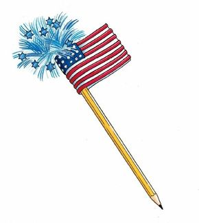Create a patriotic pencil for the Fourth of July.