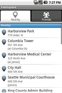 Opening up Foursquare on your Android phone brings up a selection of businesses that are near you.