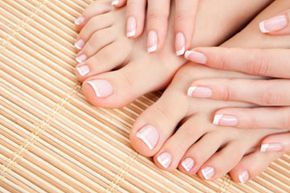 """The classic French manicure has produced spinoffs like the French pedicure, pictured here, the colored or """"funky"""" French, and the reverse French."""
