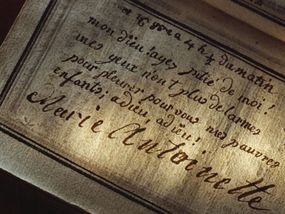 """Marie Antoinette's last inscription in her prayer book, which reads, """"My God, have pity on me! My eyes have no more tears to cry for you my poor children; adieu! adieu!"""""""