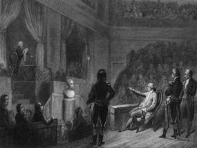 Louis Capet appears before the National Convention to await his verdict. It would be a glum one: He was sentenced to be guillotined.