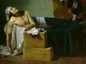 An artist's depiction of Marat's murder. Marat would become a martyr for the French Revolution.