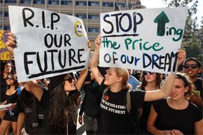 These students are protesting the proposed 32 percent tuition hike at the California university system in 2009. With increases like these, it's no wonder people are scrambling for free financial aid.
