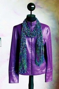 The confetti scarf is made with ribbon yarn, which gives it great texture.