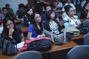 """Law students from the University of the Philippines watch """"Innocence of Muslims"""" in Manila. The film was banned by university officials but a law professor proceeded with it as part of a discussion on freedom of expression."""