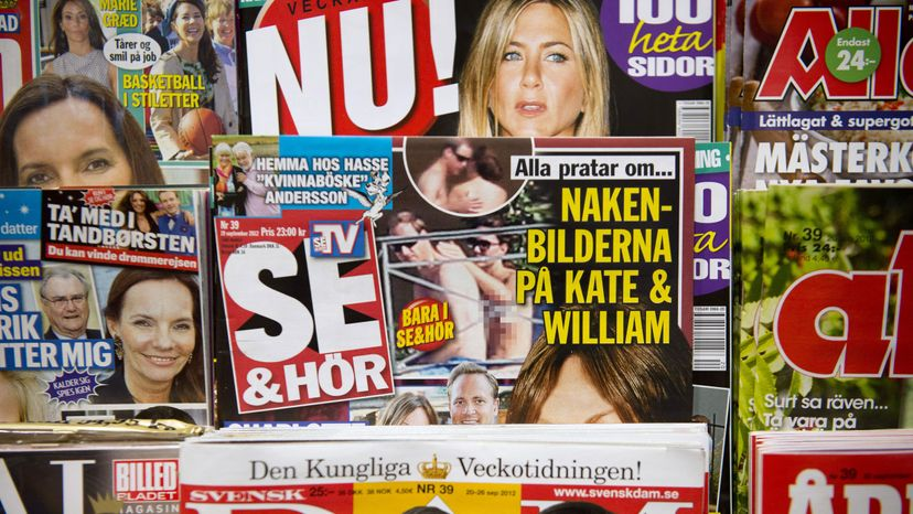 Copies of Swedish celebrity magazine Se & Hor (See and Hear), which published topless pictures of Catherine, Duchess of Cambridge taken while on holiday in France, are displayed at a newsstand in Stockholm. She sued for breach of privacy and won. JONATHAN NACKSTRAND/AFP/Getty Images