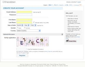 This sign-up page is the gateway to your Friendster social networking.