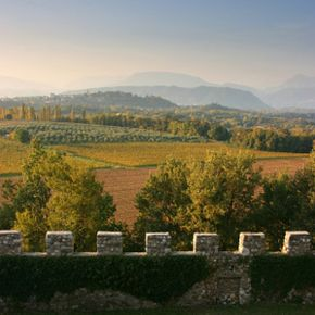 The view from Arcano castle near Udine, Italy, near the western border of the Friuli-Venezia Giulia wine region. See our collection of wine pictures.
