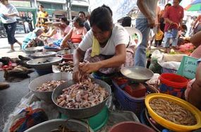 Tina Bayden sells skinned frogs at the Laoag public market in Ilocos Norte in the northern Philippines, October 2, 2005. The frogs are considered a delicacy in the region.