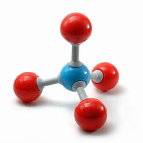 Representation of a methane molecule, with the blue sphere signifying carbon and the four red spheres signifying hydrogen