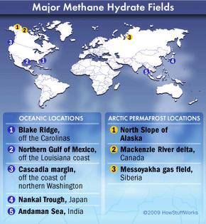Major methane hydrate fields