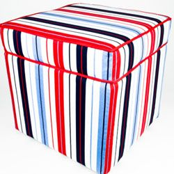 An ottoman recovered in a fun print can breathe fresh air into a living space. Remnant bin fabric finds keep the cost of this project ultra-low.