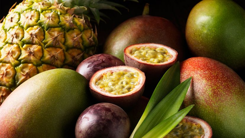 mango, pineapples and passionfruit