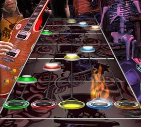 Guitar Hero note chart: Notice the target line at the bottom and HOPOs with the bright, white centers.