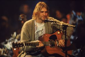 American singer and guitarist Kurt Cobain (1967 - 1994), performs with his group Nirvana.