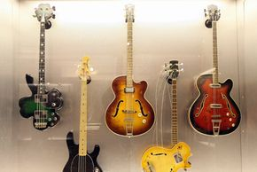 Electric guitars are pictured at the 'Born to Rock' electric guitar exhibition. See more pictures of guitars.