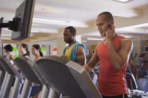 If you've got to take a call while on the treadmill, keep it short and your voice down.