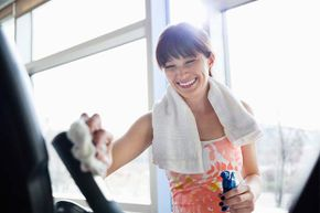 Always, always, always, sanitize gym equipment and yoga mats after use.