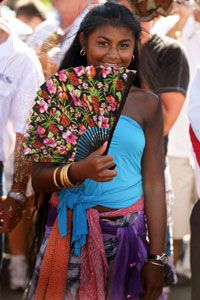 A Romani girl at an annual gypsy pilgrimage in France.