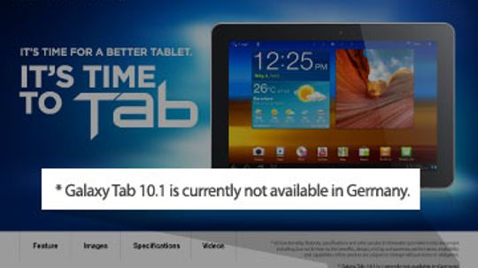 Why has Germany blocked sales of the Samsung Galaxy Tab?