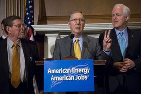 Senate Energy ranking member Pete V. Domenici, Senate Majority Leader Mitch McConnell and Sen. John Cornyn introduce the American Energy Production Act of 2008. Senators often use game theory principles to garner support for their proposed bills.