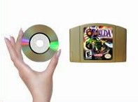 The GameCube uses small proprietary discs instead of cartridges.