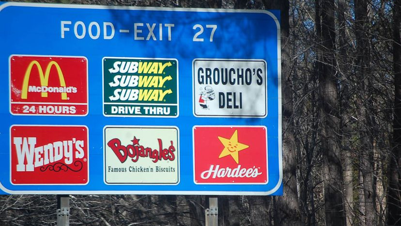 gas food lodging sign