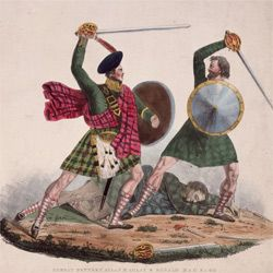 Military technology has changed quite a bit since the days of dueling with swords, shields -- and kilts.
