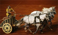 """A Roman chariot appearing in the 2006 stage production premiere of """"Ben-Hur"""" in Paris"""