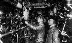 Inside the engine room of a German submarine around 1916