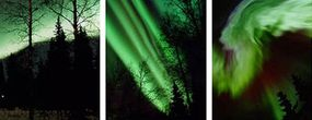 Left: typical aurora display Middle and right: aurora displays during geomagnetic substorms
