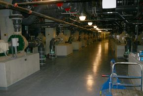 Some of the 218 pumps that help keep the water at the aquarium clean.
