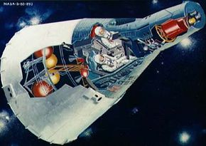 An artist's concept of the Gemini spacecraft.