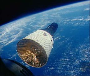 In this shot of the Gemini VI and VII rendezvous, the two spacecraft were 29 feet (9 meters) apart.